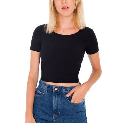 Women Summer Plain Scoop Neck Basic Short Sleeve Ladies Slim Crop Top T-Shirt 1