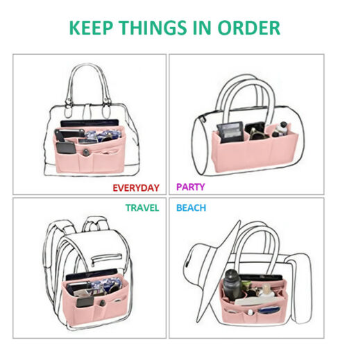 Felt Purse Handbag Organizer Insert - Multi pocket Storage Tote Shaper Liner Bag 4