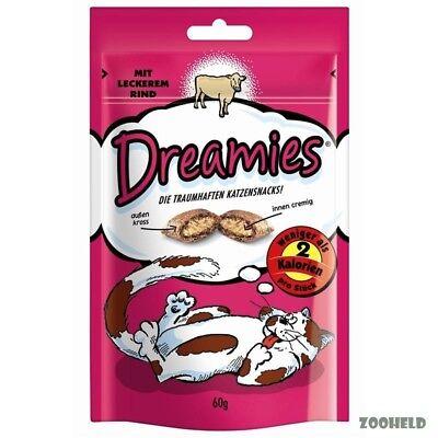 6x60g Dreamies Snack mit Rind Katzensnack Knuspersnack mit Füllung kalorienarm