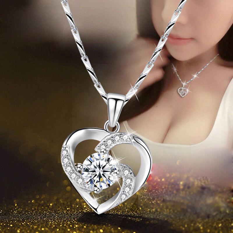 Damen Kette Anhänger Halskette 925 Sterling Silber Kristall Schmuck TOP