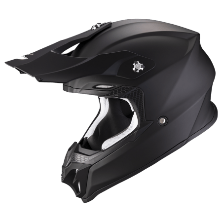 CASCO MOTO CROSS ENDURO MOTARD QUAD SCORPION VX-16 AIR SOLID NERO OPACO PUMP AIR