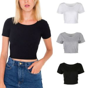 Women Summer Plain Scoop Neck Basic Short Sleeve Ladies Slim Crop Top T-Shirt