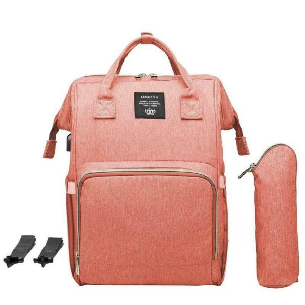 LEQUEEN Waterproof Diaper Bag USB Charging Large Capacity Mummy Nursing Backpack 9