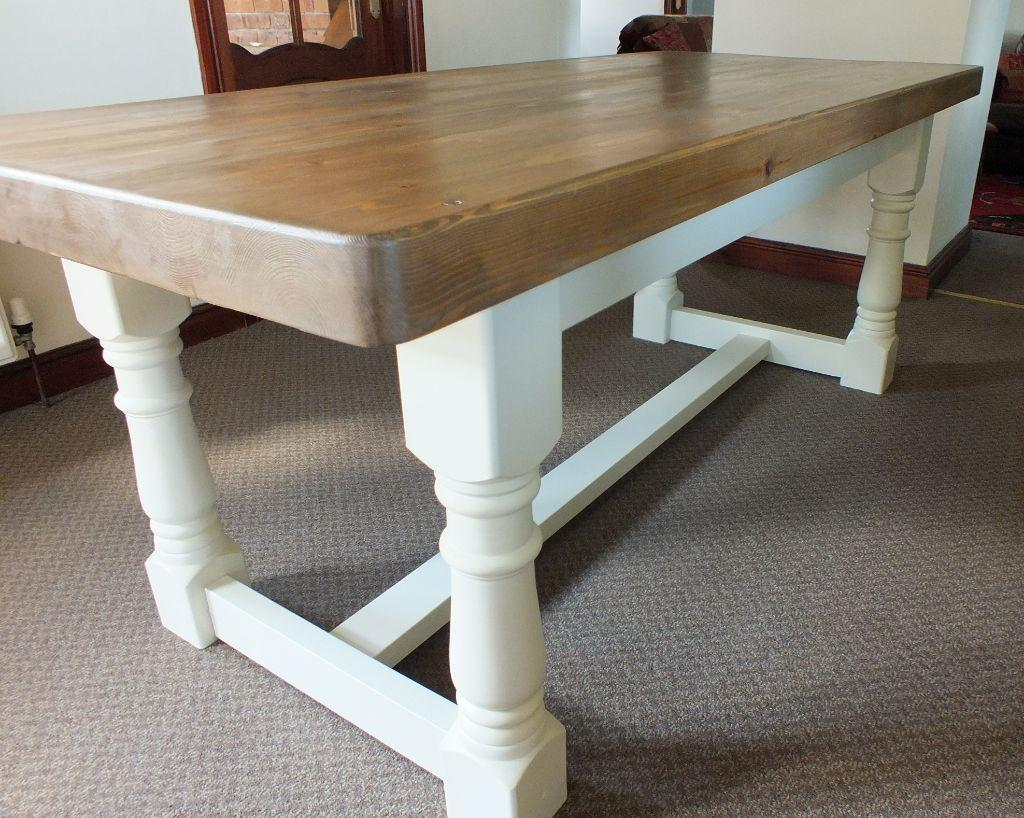 Rustic CreamStunning 7ft Rustic Shabby Chic Pine Refectory