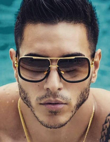 Aviator Oversize Square Designer Flat Top Gold Metal Men Bar Fashion Sunglasses