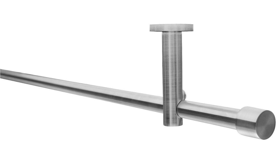 Gardinenstange 16mm Wand-/Deckenbefestigung Edelstahloptik Metall NEU 80-800cm