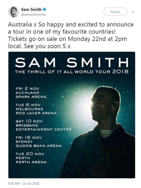 sam smith perth 2018