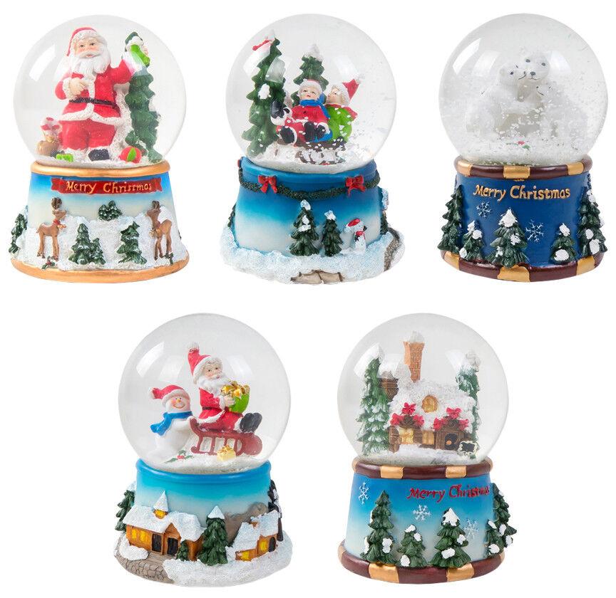 Schneekugel-Spieluhr mit Weihnachtsmelodie Weihnachtsmann Schneemann Winterdeko