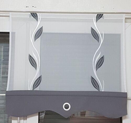 Scheibengardine 1tlg  grau-weiß