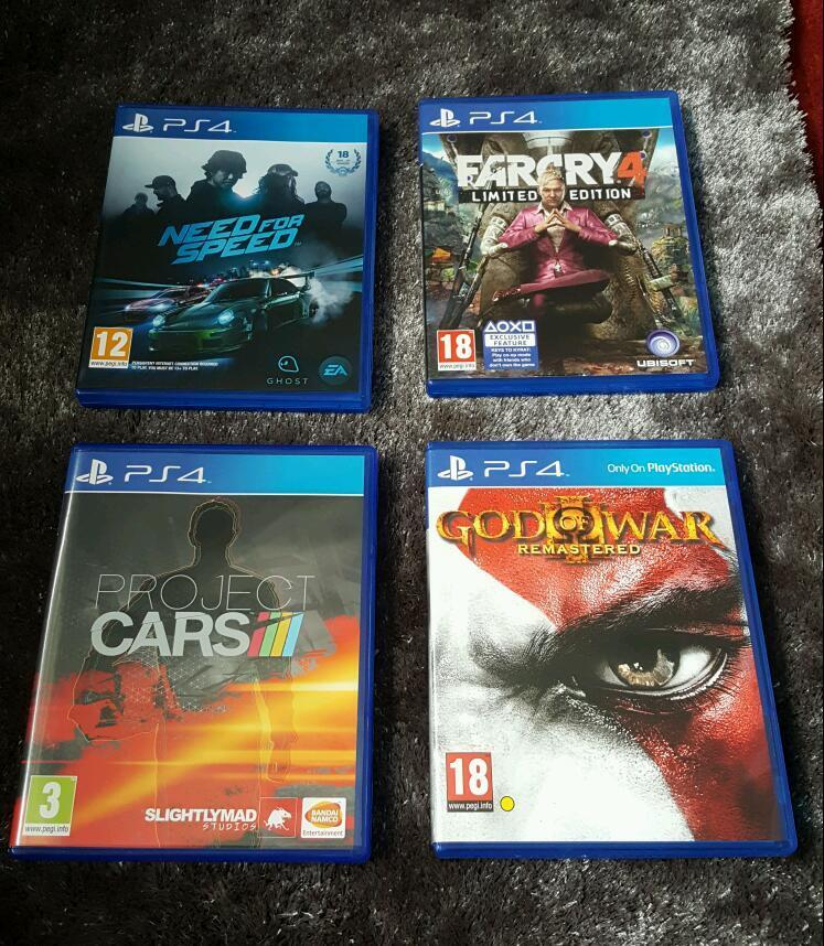 Ps4 Games God Of War Far Cry 4 Project Cars Amp Need For