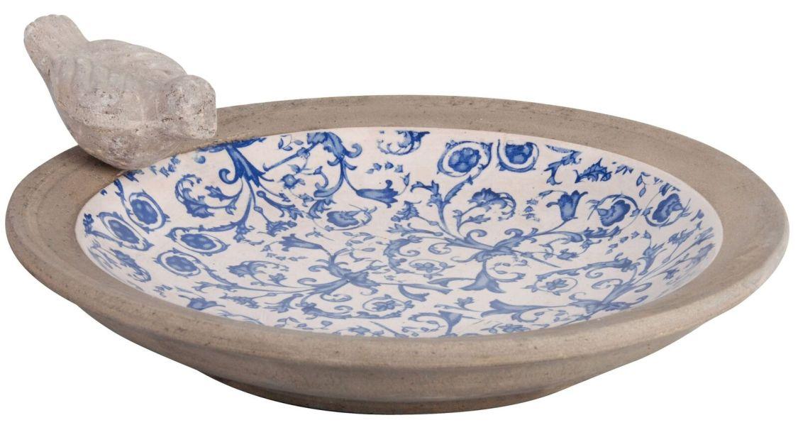 Vogeltränke Vogelbad Vogelbecken Garten Vogel Aged Ceramic Landhaus