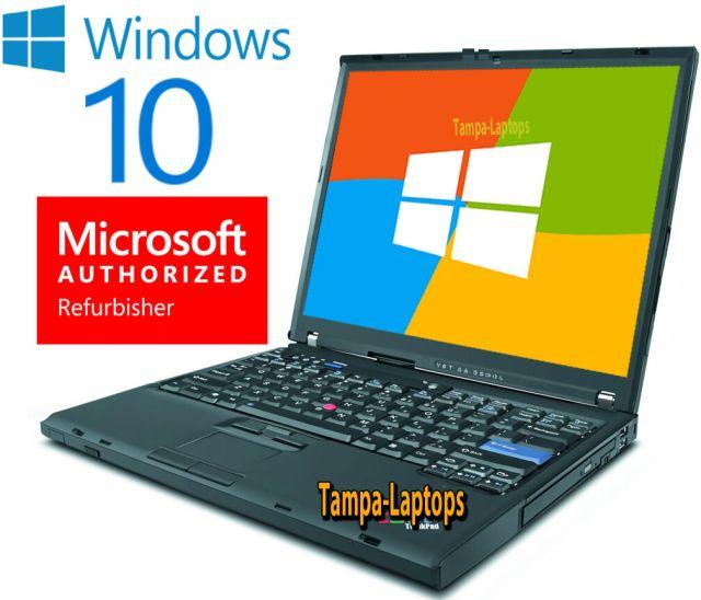 IBM LAPTOP LENOVO T61 WINDOWS 10 WIN COMPUTER WIRELESS WIFI CDRW DVD NOTEBOOK PC