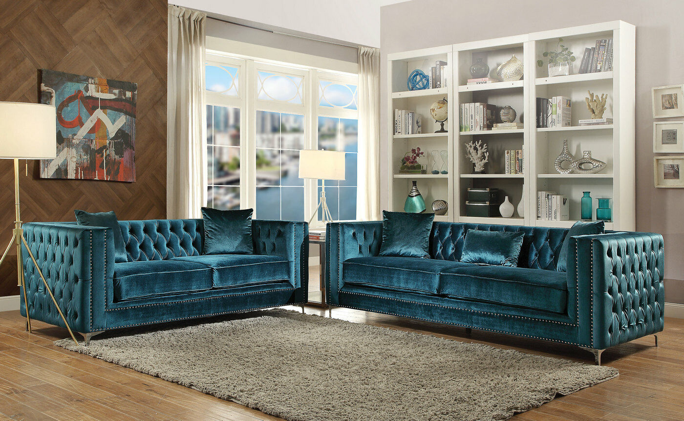 Aegean Dark Teal Blue Green Tufted Velvet Sofa Loveseat W Silver Accents Ebay