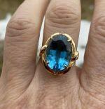 VINTAGE ESTATE 12cts BLUE TOPAZ 14K GOLD  RING SIZE 8  , 5.6gr
