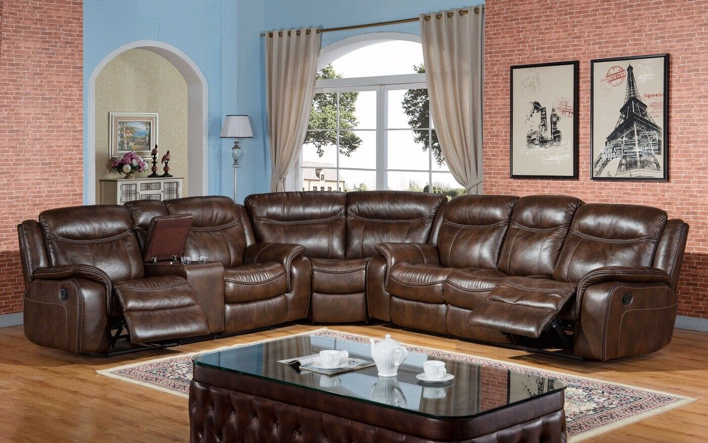 details about new braylon classic brown reclining sectional sofa in premium leather air fabric