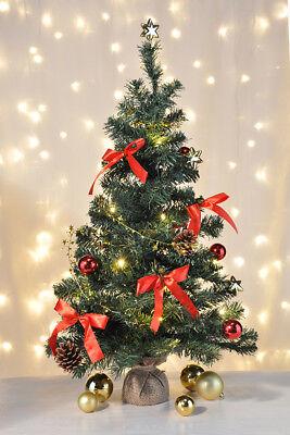 geschmückter Weihnachtsbaum 75cm mit TIMER Tannenbaum künstlich + 20 LED`s #73
