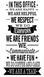 OFFICE RULES TEAMWORK VINYL WALL DECAL QUOTE DECOR STICKERS LETTERING ART WORK