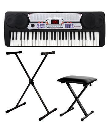 Digital 54 Tasten Einsteiger Keyboard E-Piano Set Keyboard Stativ Ständer Hocker