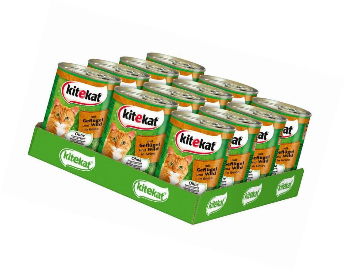"""1 Palette Kitekat Katzenfutter """"Geflügel und Wild in Gelee"""", 12 x 400 gr Dose"""
