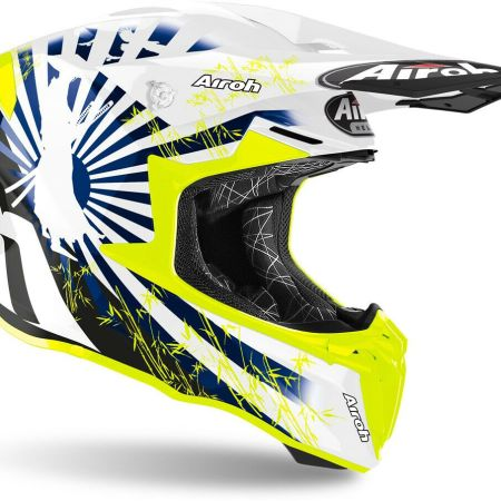 CASCO MOTO CROSS ENDURO MOTARD AIROH TWIST BLUE GLOSS KATANA BLU BIANCO GIALLO