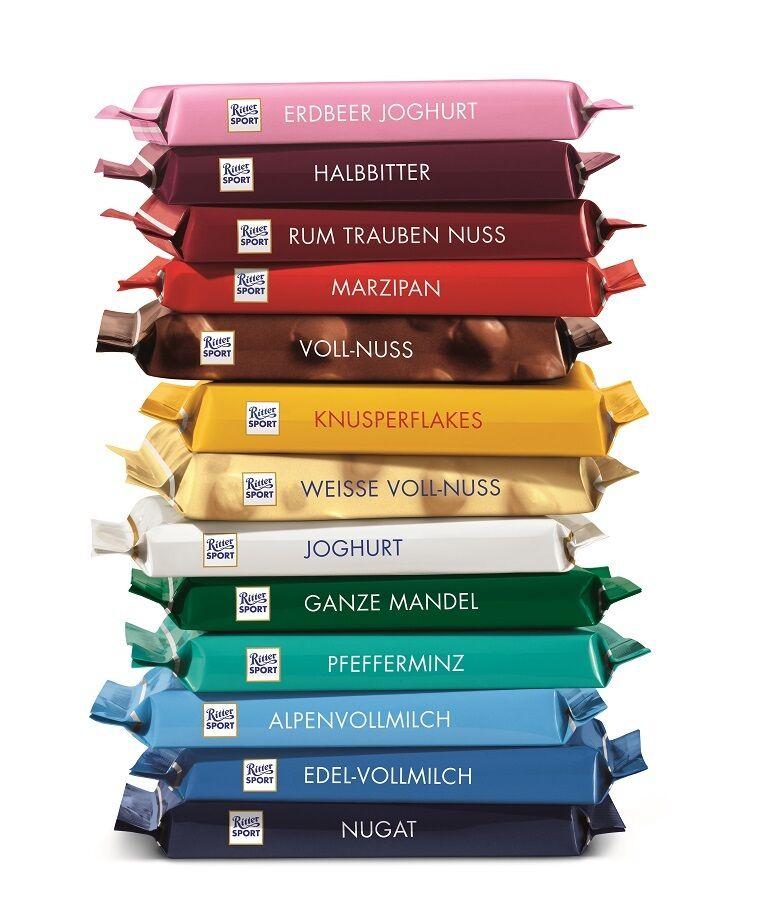 Stellen Sie Ihr Ritter Sport Schokoladenpaket selbst zusammen mit langem MHD