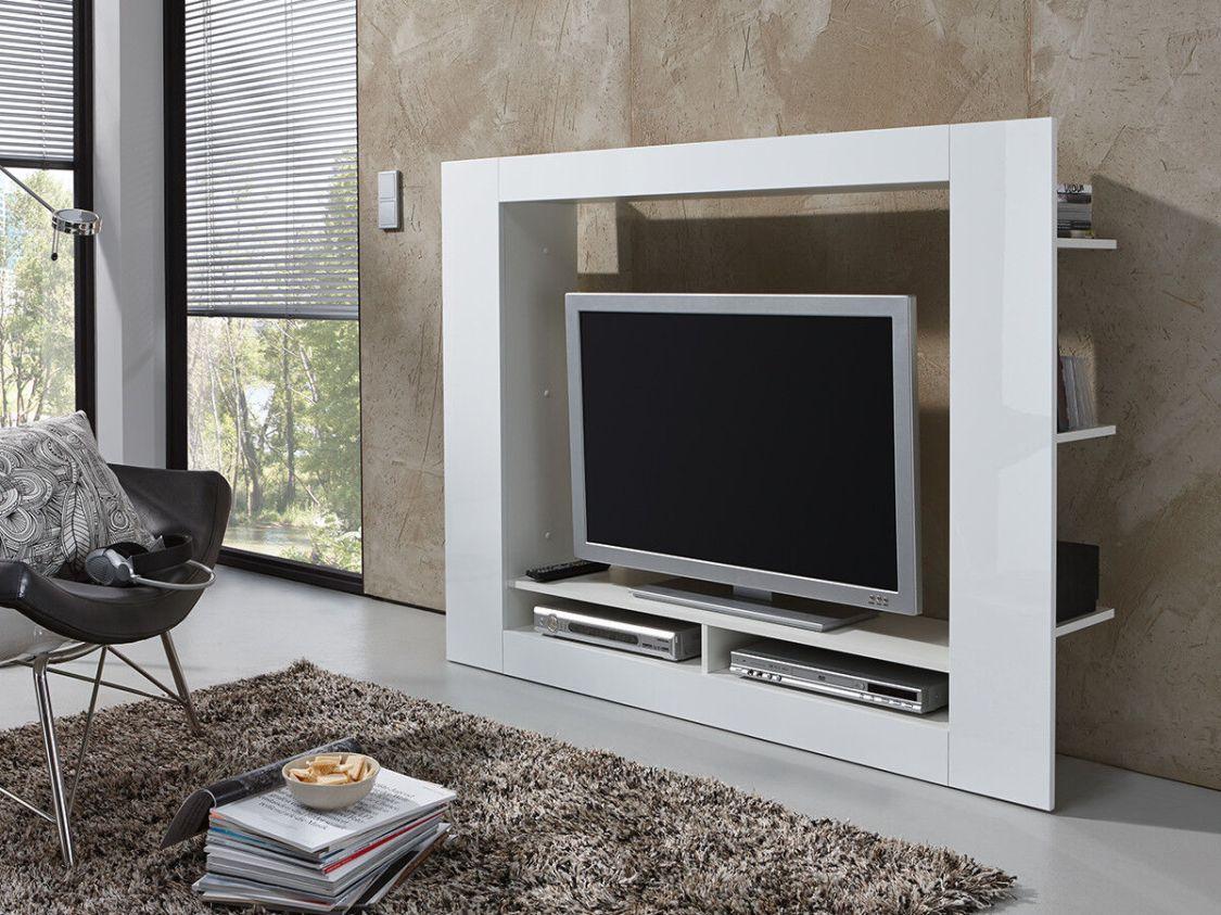Wohnwand Anbauwand Schrankwand Wohnzimmer Schrank Weiß mit Hochglanz