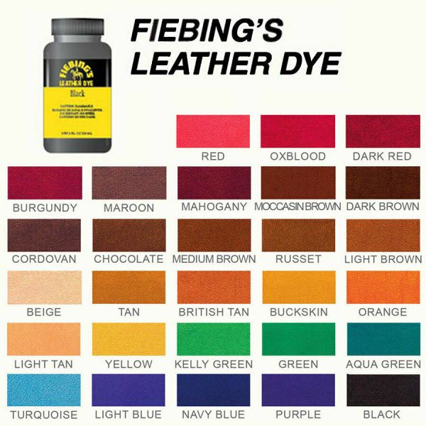 Fiebing's Leather Dye W/ Applicator For Shoes, Boots, Bags, Couches (All Colors) 1