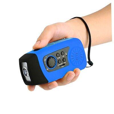 Kurbelradio AM FM Taschenlampe Solarradio USB MP3 tragbar Wasserdicht Blau Neu Z