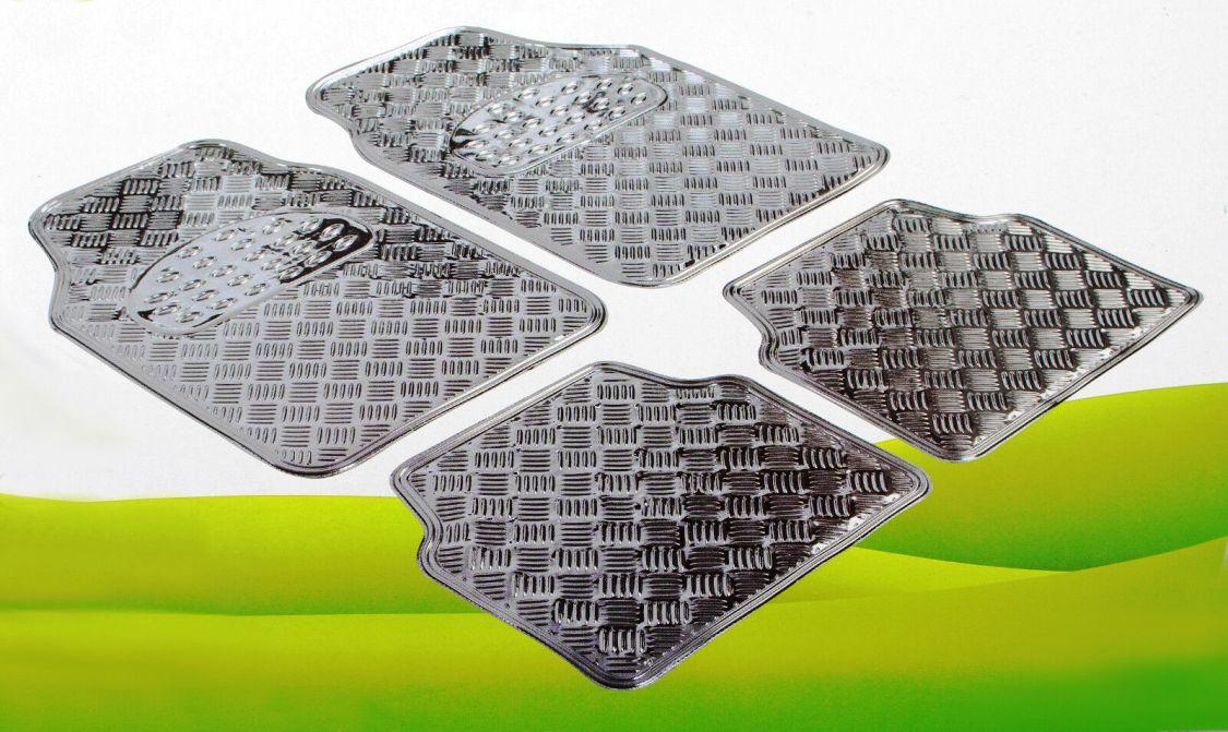 Metallic Fussmatten Alu Silber universal Gummimatten KFZ  Riffelblech Automatte