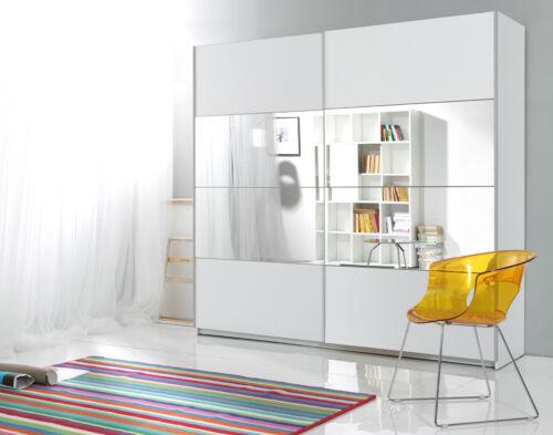 Schwebetürenschrank Kleiderschrank Schlafzimmerschrank Spiegel 180cm weiß 540252