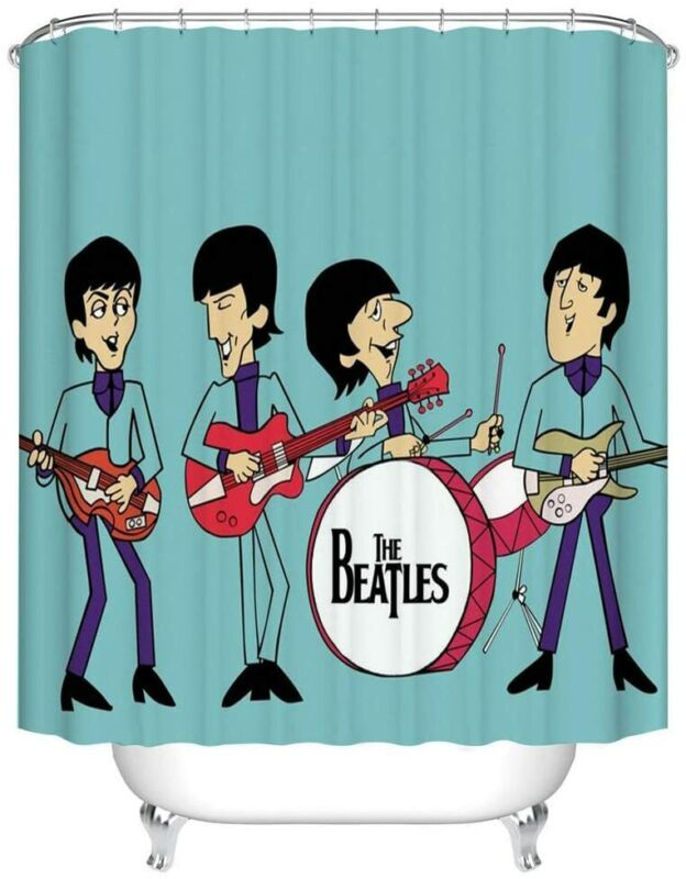 rock band the beatles shower curtain