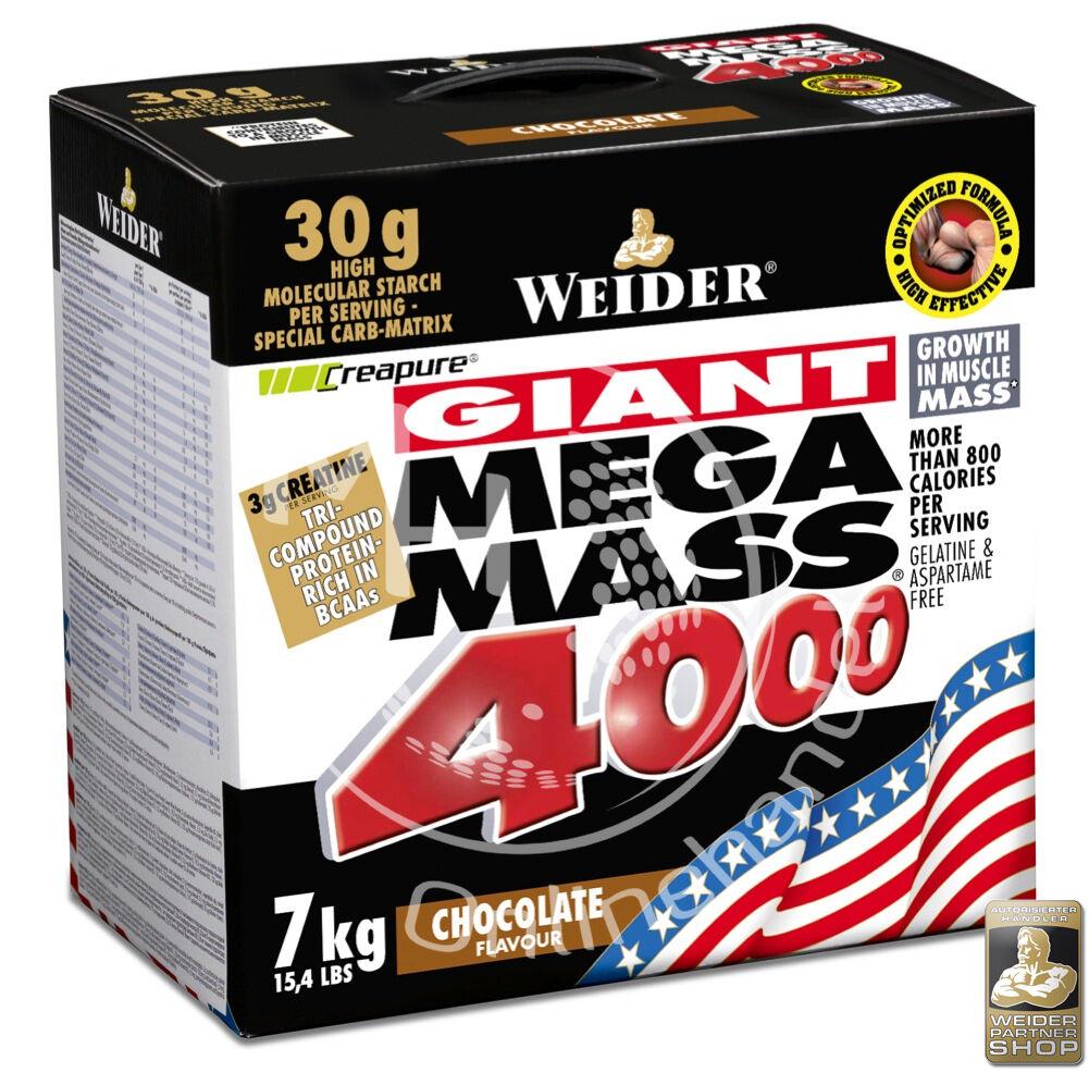 Weider Mega Mass 4000 Karton 7 Kg (9,00€/Kg) reines CREAPURE Kreatin