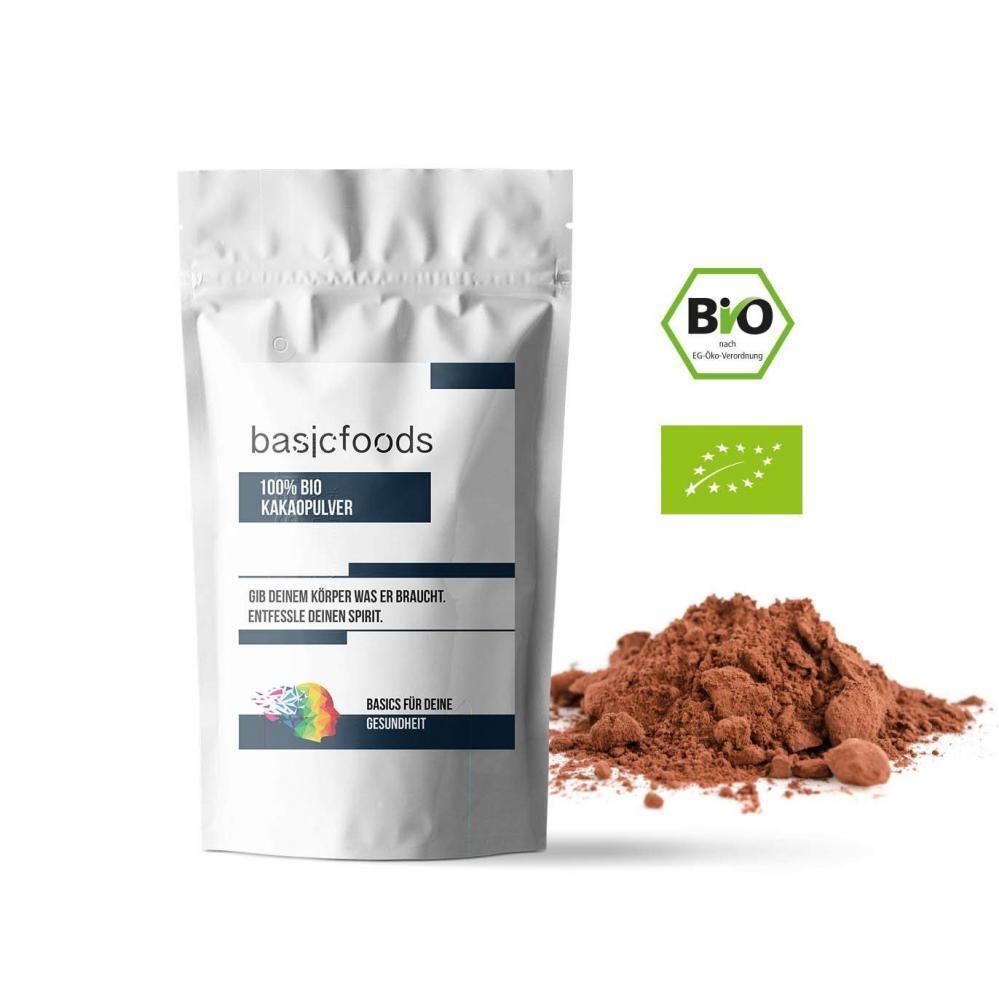 Basicfoods Bio Kakaopulver Kakao Pulver 1kg stark entölt 1000g