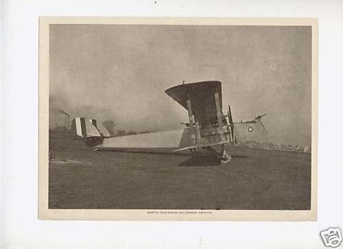 WW I MARTIN TWIN ENGINE BOMBER PLANE 1919 PHOTO CARD 1 EBay