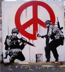"Banksy-Peace Soldiers -18""x18"" Canvas Print Urban Graffiti ..."
