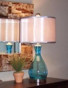 Gorgeous Turquoise AQUA BLUE Table Lamp Mouth BLOWN GLASS ...