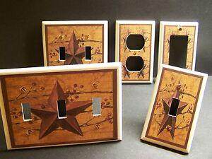 COUNTRY STAR RUSTIC PRIMATIVE FOLK ART LIGHT SWITCH OR OUTLET COVER V254