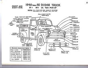 1951 1952 1953 DODGE TRUCK 12 34 1 TON EXTERIOR BODY