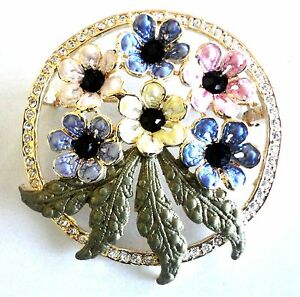 Brooch Flower Bouquet Multi-Color Pin Vintage Rhinestone ...