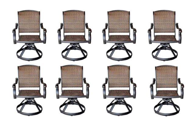 santa clara patio swivel dining chairs cast aluminum outdoor furniture set of 8