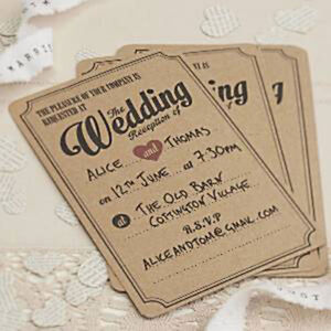 Details About Diy Rustic Craft Card Day And Evening Wedding Invitations Venue Reception Option