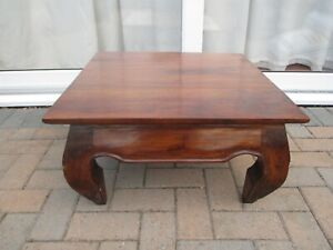 details about vintage chinese square kang wooden low coffee table round leg table ming style