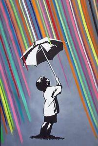 Canvas Banksy Street Art rainbow rain Painting 80cm x 50cm ...
