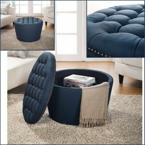 details about storage ottoman table coffee large round ottomans tufted linen upholstery navy