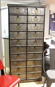 details sur ecran vintage industriel casier armoire de rangement metal shop urban 20 tiroirs afficher le titre d origine