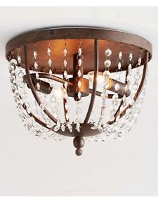 details about pottery barn quinn crystal chandelier flush mount ceiling light fixture