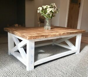 details about new handmade wooden coffee table distressed white made to order