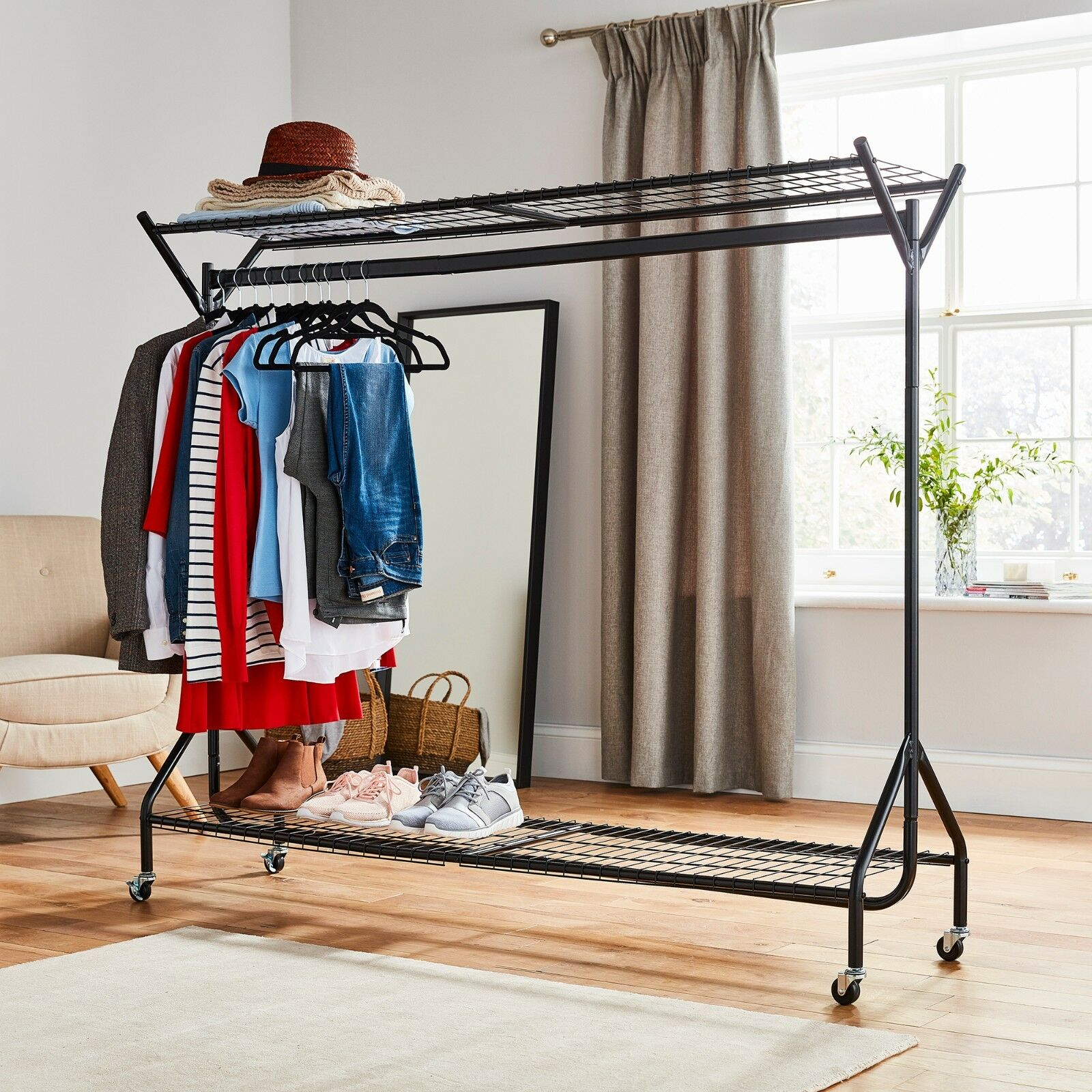 details about black heavy duty hanging clothes garment rail with shoe rack shelf and hat stand