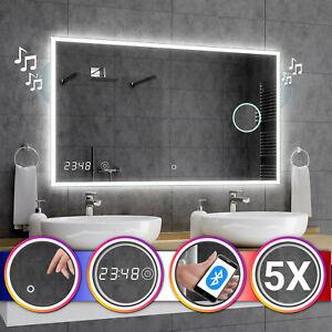 Miroir Salle De Bain Lumineux Led Boston Interrupteur Horloge Bluetooth F03 Ebay