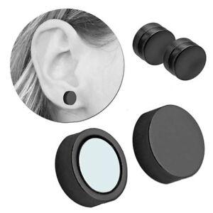 2 Magnet Fakeplugs Schwarz Fake Plug Magnetisch 6-12mm Clips Ohne Loch Piercing